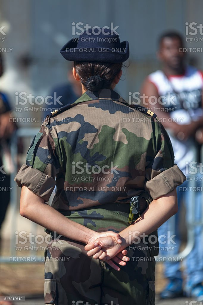 Female lieutenant in French Army stock photo