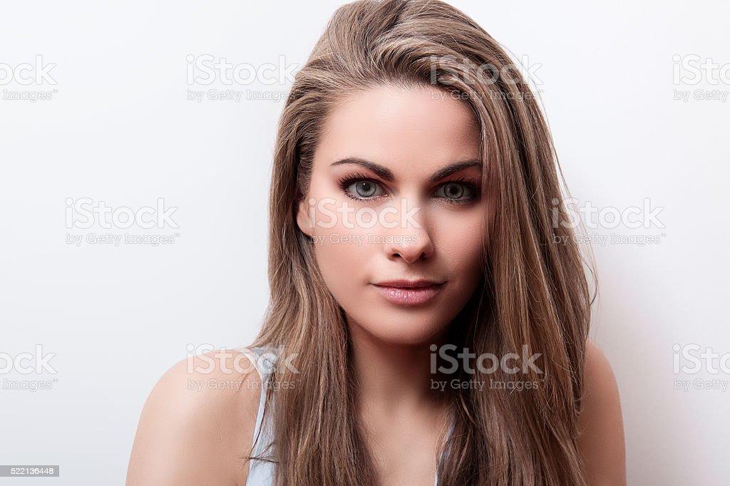 Female looks intense stock photo
