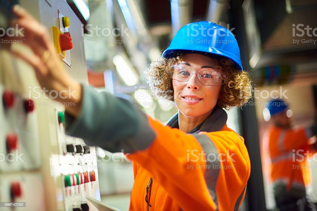 female maintenance engineer stock photo