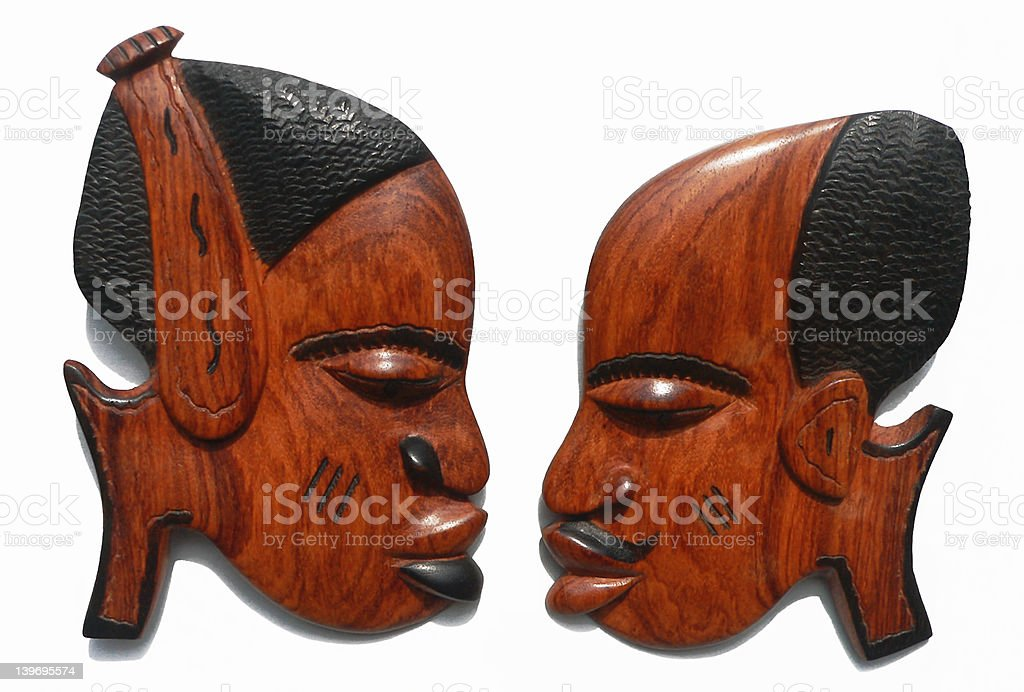 Female & Male African carvings royalty-free stock photo