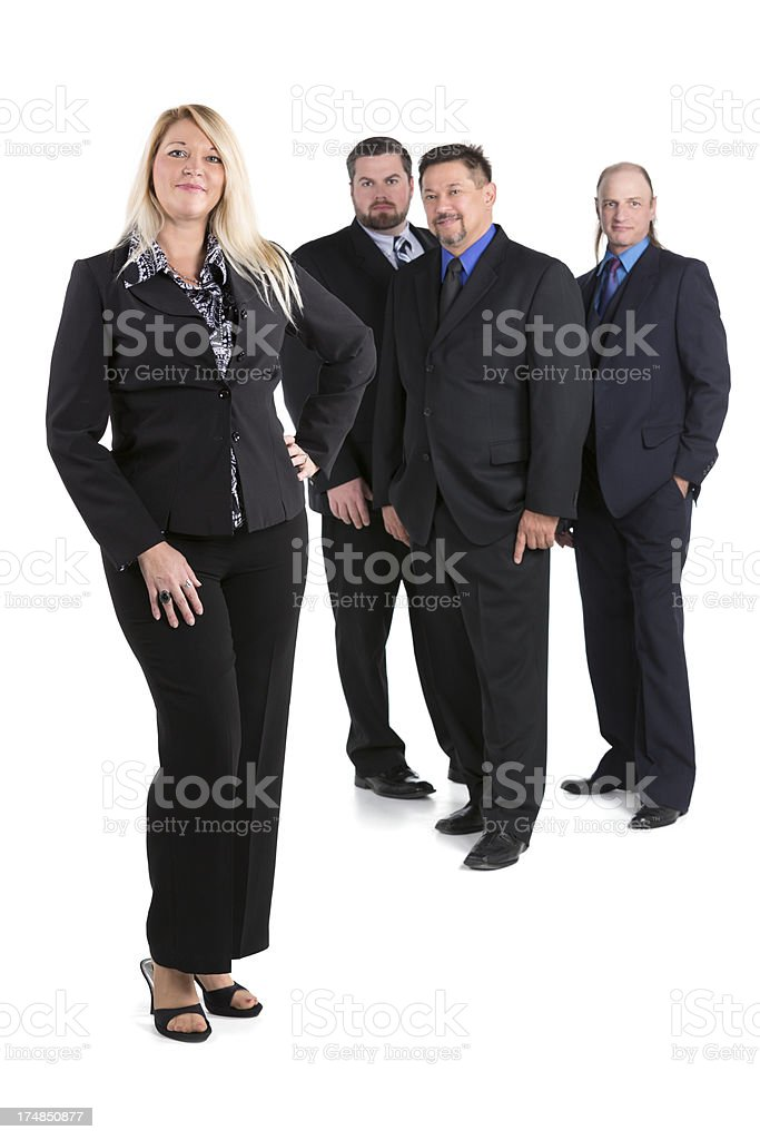 Female manager with a team behind her on white stock photo