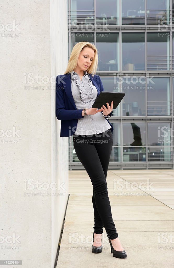 Female manager with tablet computer stock photo