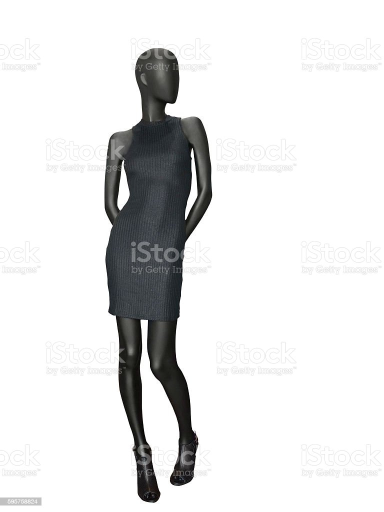 Female mannequin dressed in black dress. stock photo