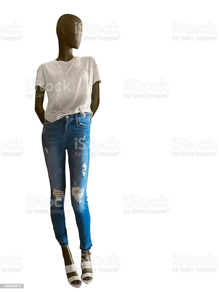 Female mannequin dressed in t-shirt and jeans stock photo