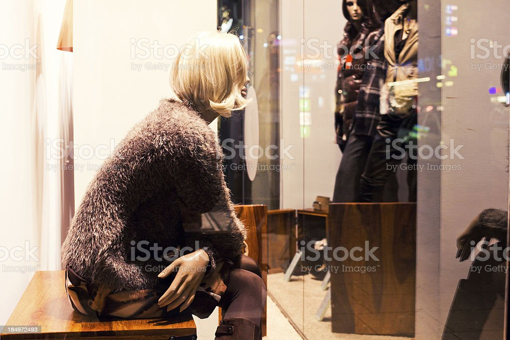 Female Mannequin in Shopping Window royalty-free stock photo