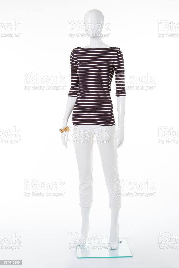 Female mannequin in striped top. stock photo