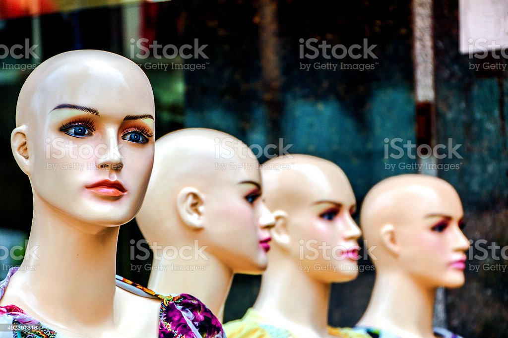 Female mannequin in the street. stock photo