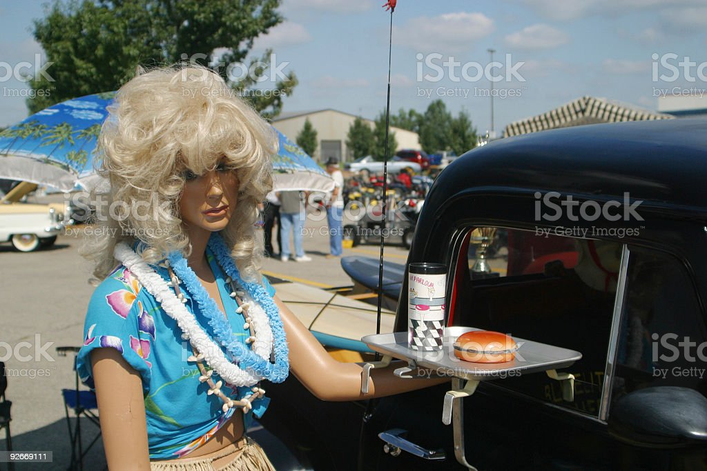Female Mannequin Serves Food royalty-free stock photo