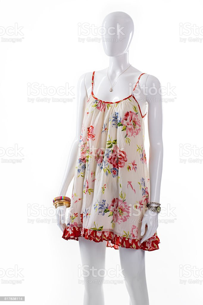 Female mannequin wearing floral sarafan. stock photo