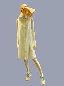 Female mannequin wearing summer dress.