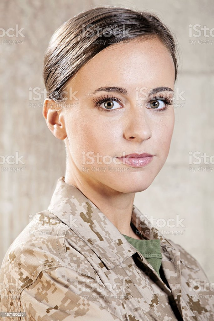 Female Marine Soldier stock photo