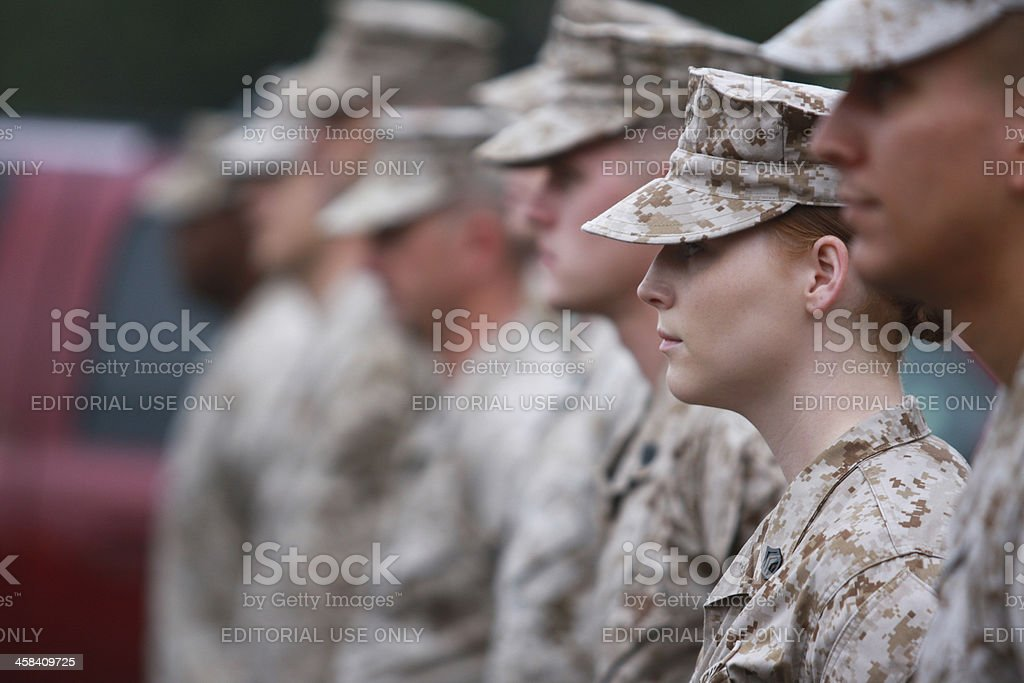 Female Marine Staff Sergeant stock photo