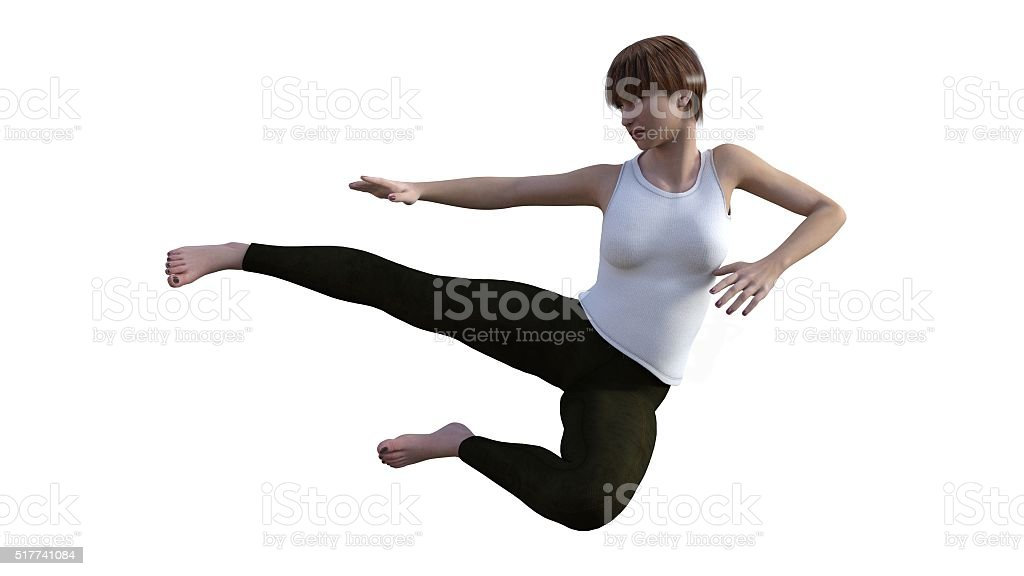 female martial artist stock photo
