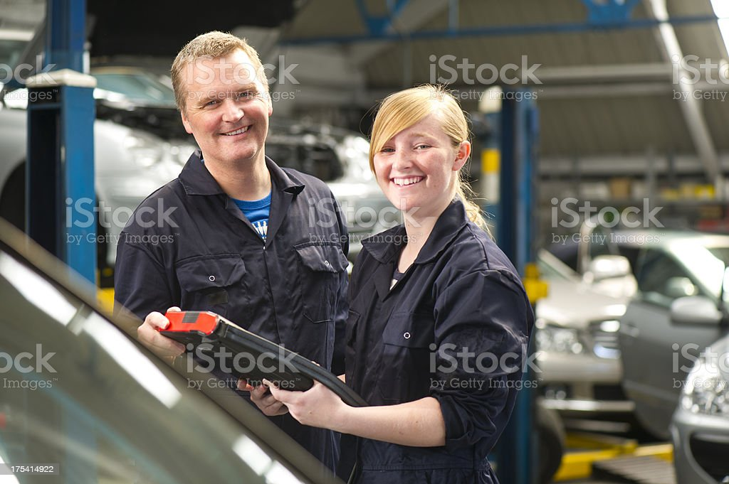 Female mechanic and boss royalty-free stock photo