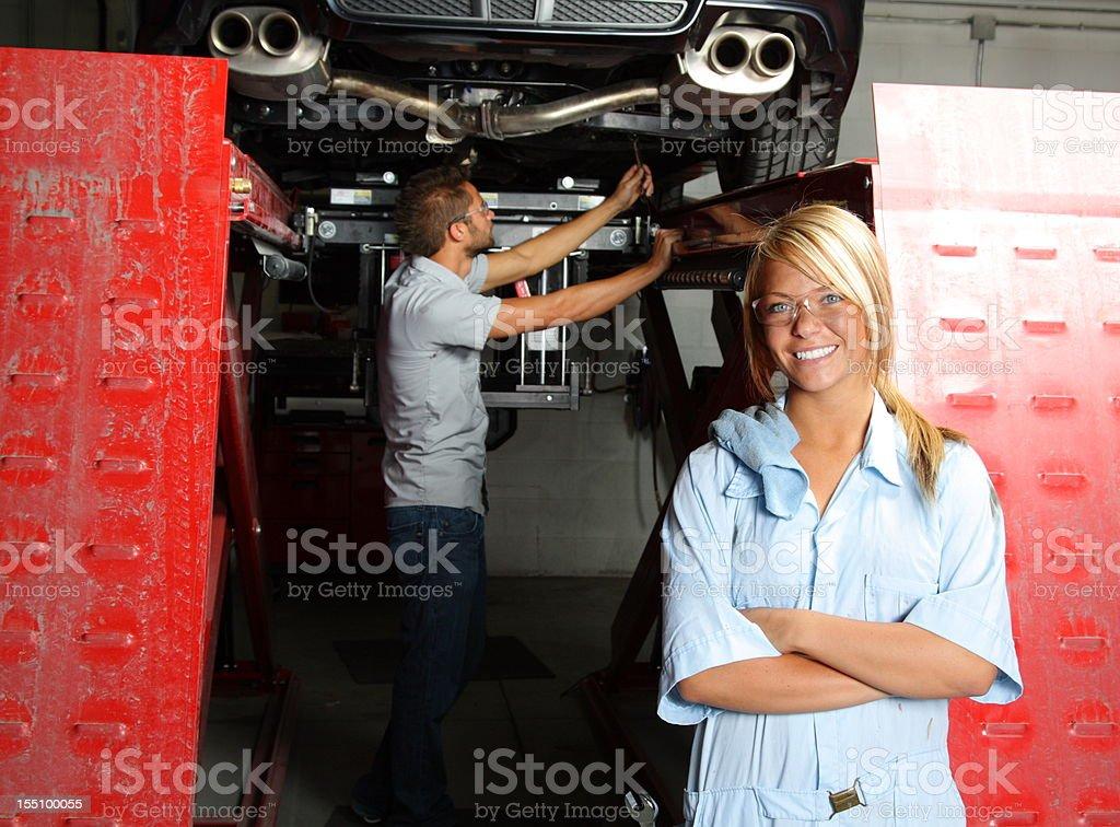 Female Mechanic at Autobody Shop royalty-free stock photo