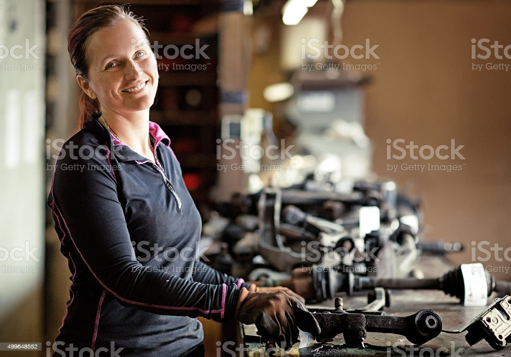 female mechanic at workshop stock photo