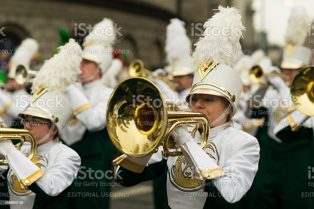 Female mellophone player stock photo