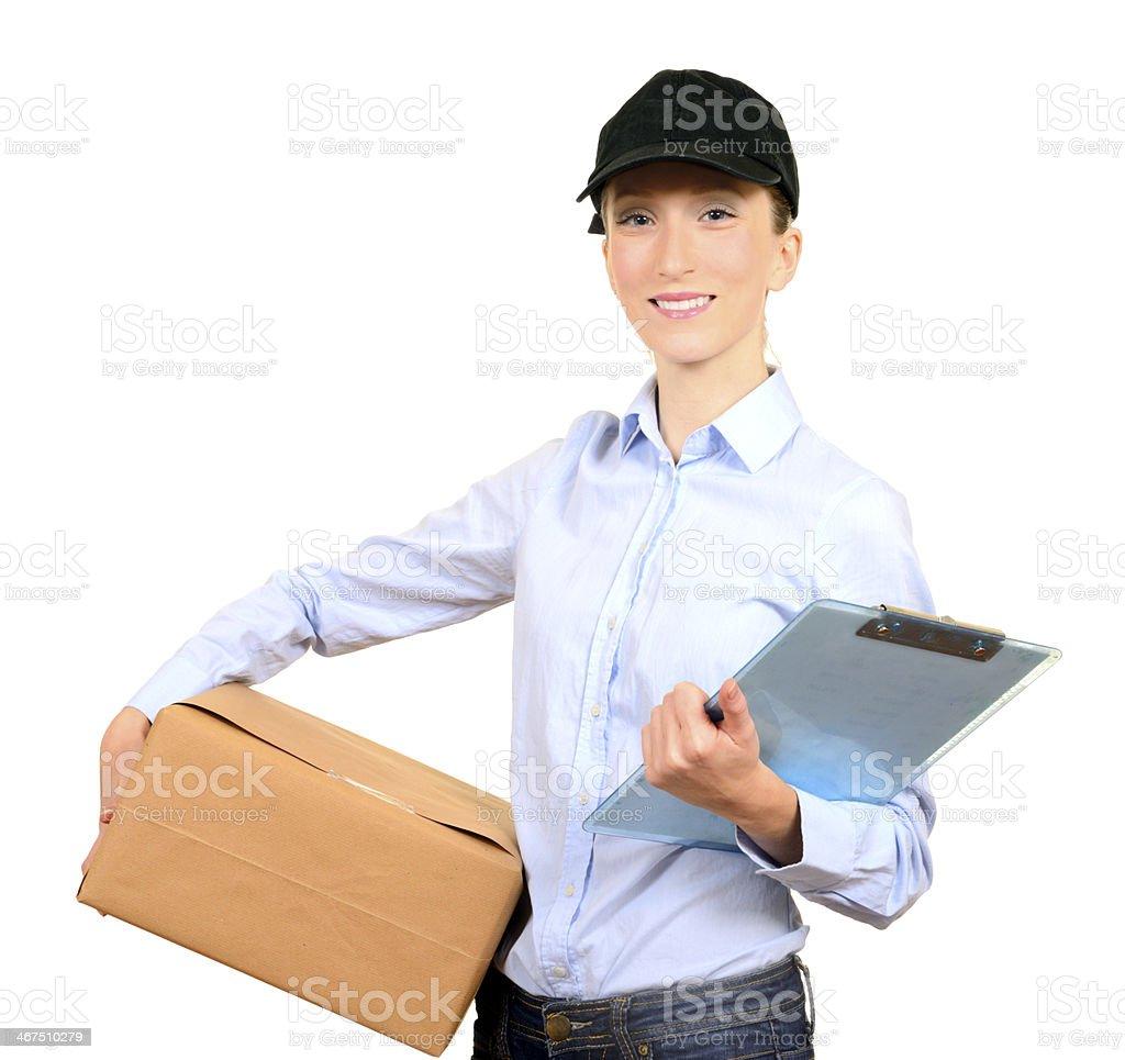 Female Messenger Holding Box royalty-free stock photo