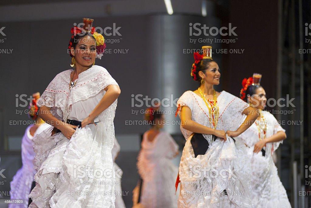 Female Mexican Folk Dancers White Dress Beautiful royalty-free stock photo