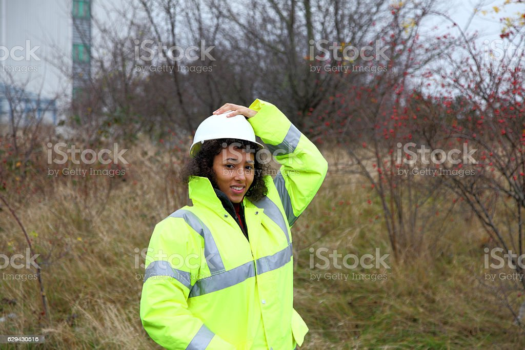 female mixed race engineer stock photo