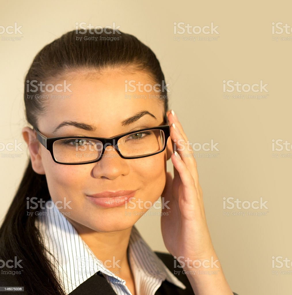 female model posing with glasses royalty-free stock photo