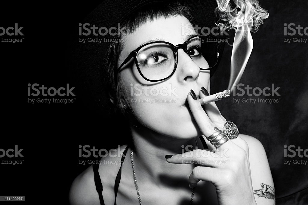 female model smokers royalty-free stock photo