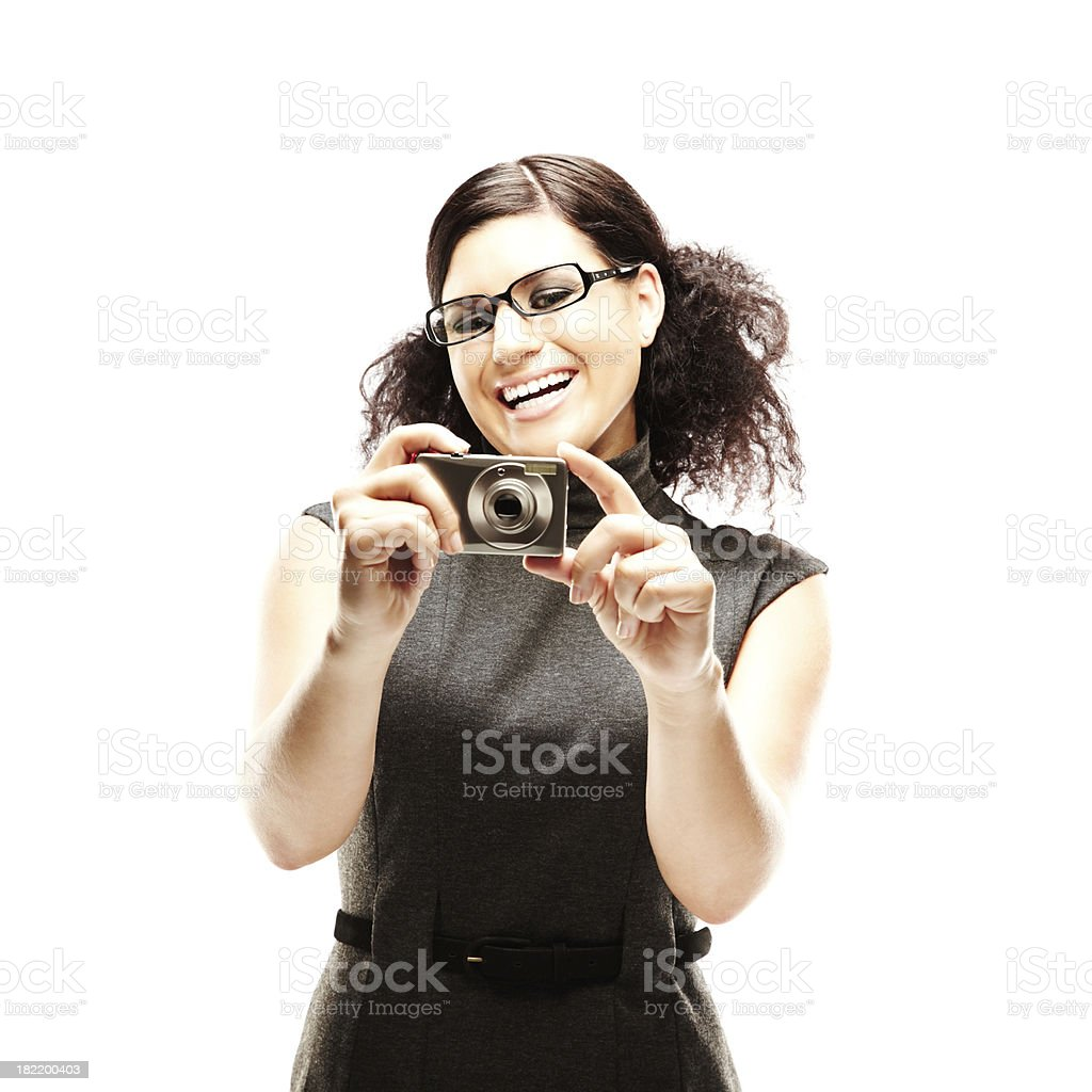 Female Model with Digital Camera. royalty-free stock photo