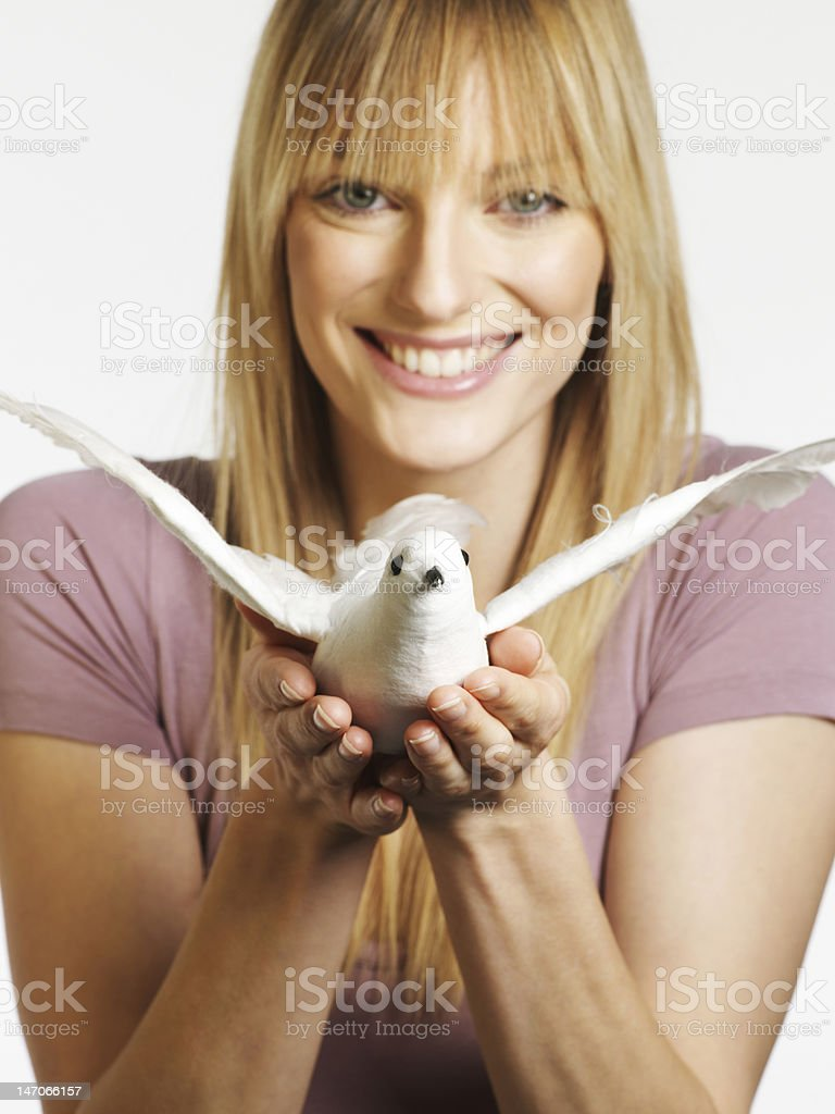Female model with dove royalty-free stock photo
