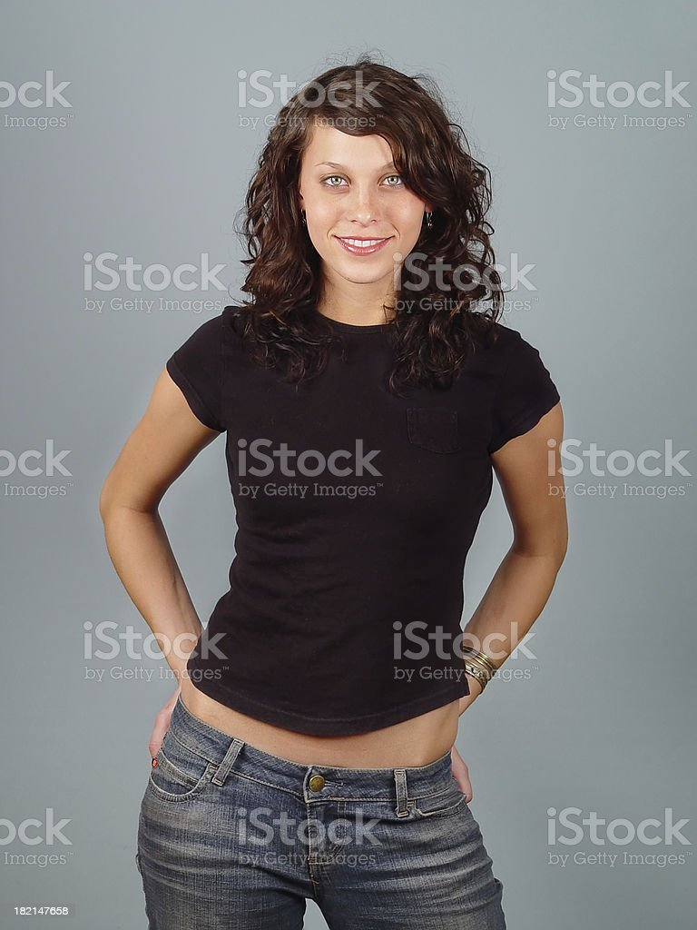 Female model with plain black shirt stock photo