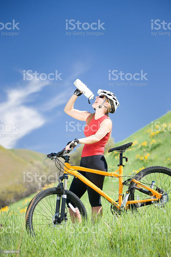 Female Mountain Biker Drinking Water royalty-free stock photo