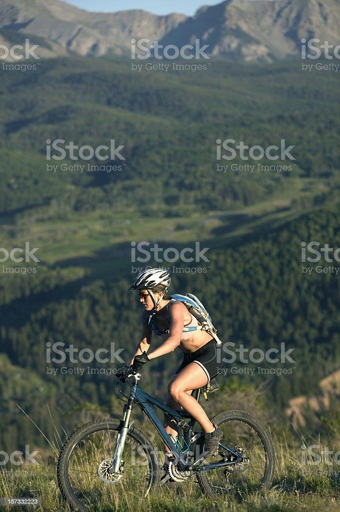 Female mountain biker royalty-free stock photo