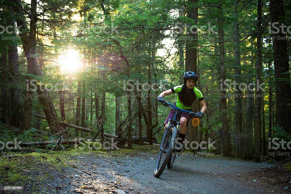 Female mountain biker stock photo