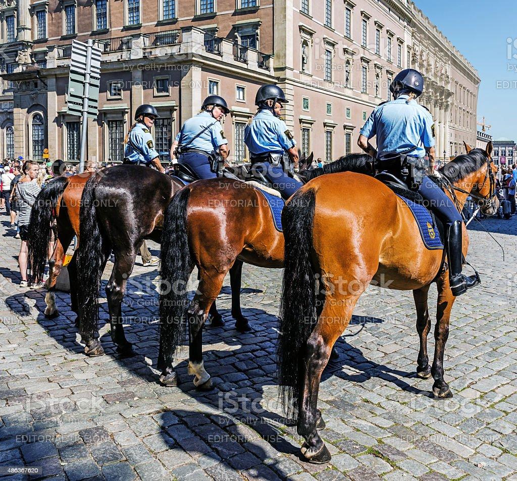 Female mounted patrol stock photo