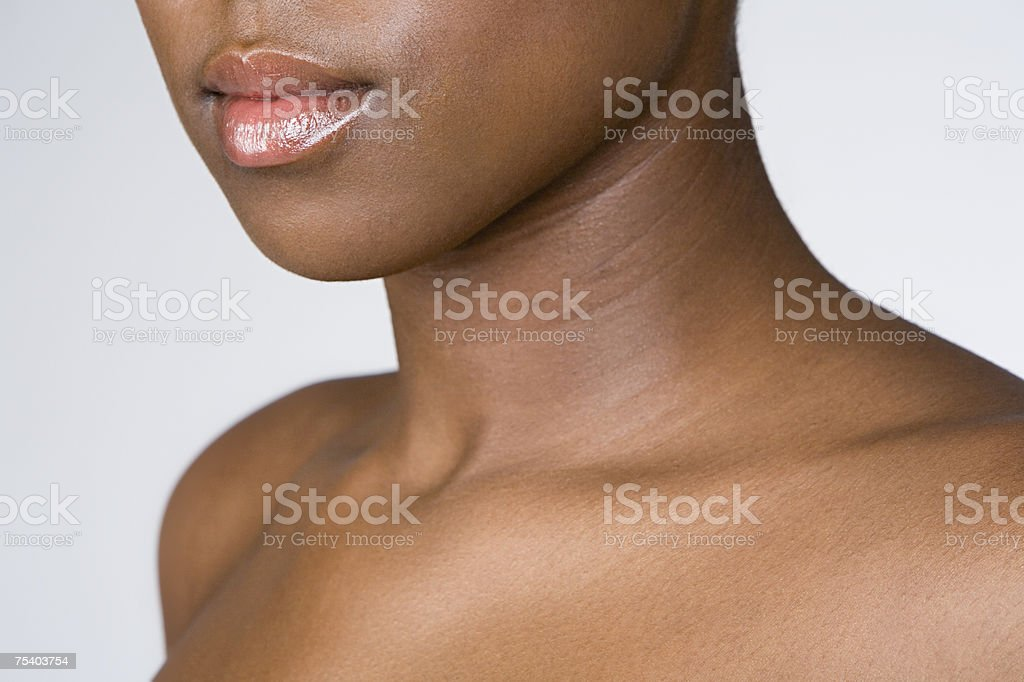 Female mouth neck and shoulders stock photo