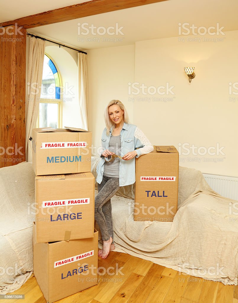female moving house concept stock photo