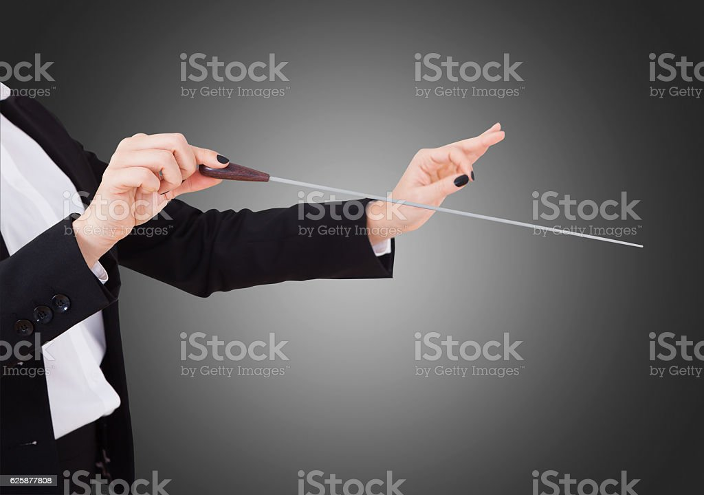 Female Music Conductor's Hands Holding Baton stock photo