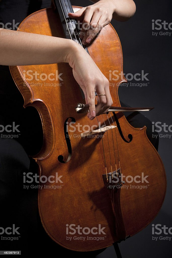 Female Musician Playing Violoncello stock photo