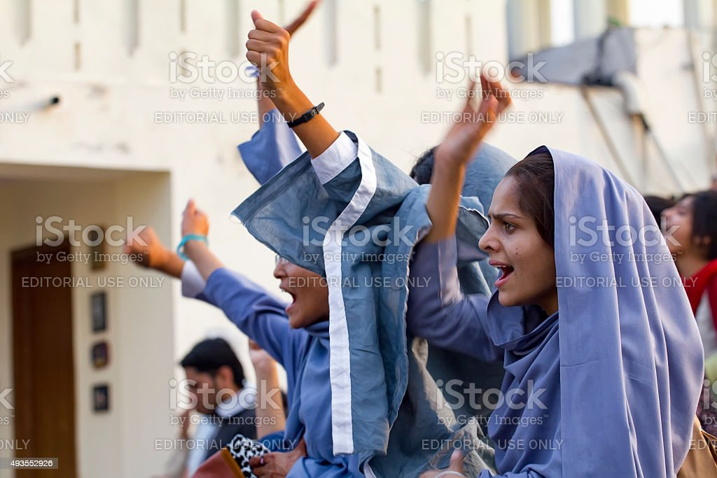 female muslim students protest stock photo