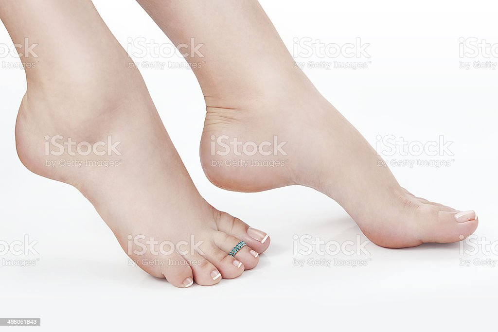 Female Naked Legs over white Backgroundked stock photo