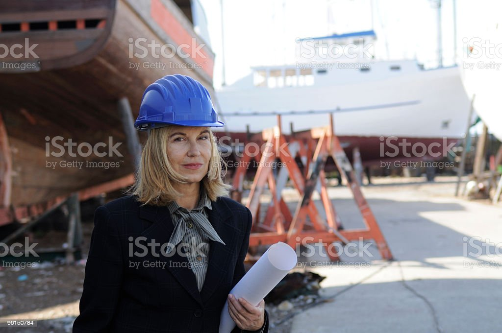 Female naval engineer with a new project stock photo