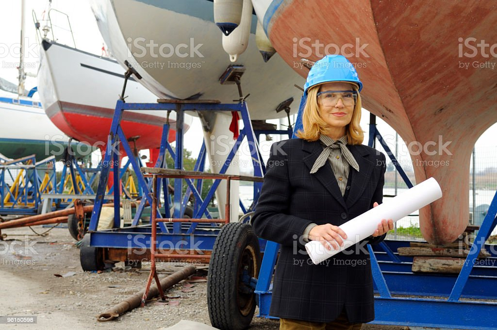 Female Naval Engineer with Plan stock photo