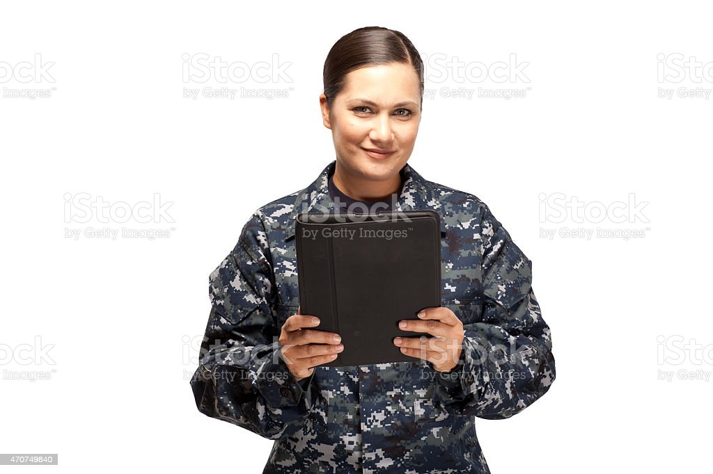 Female navy officer with digital tablet stock photo