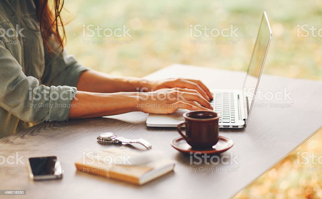 Female novelist writing on the laptop stock photo