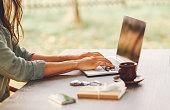 Female novelist writing on the laptop