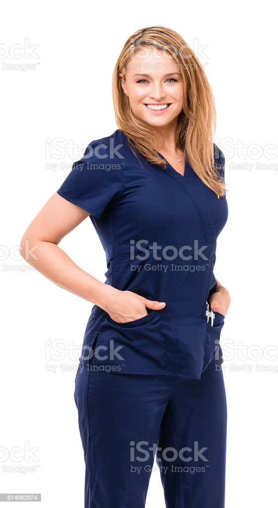 Female Nurse Doctor with Arms At Sides on White stock photo