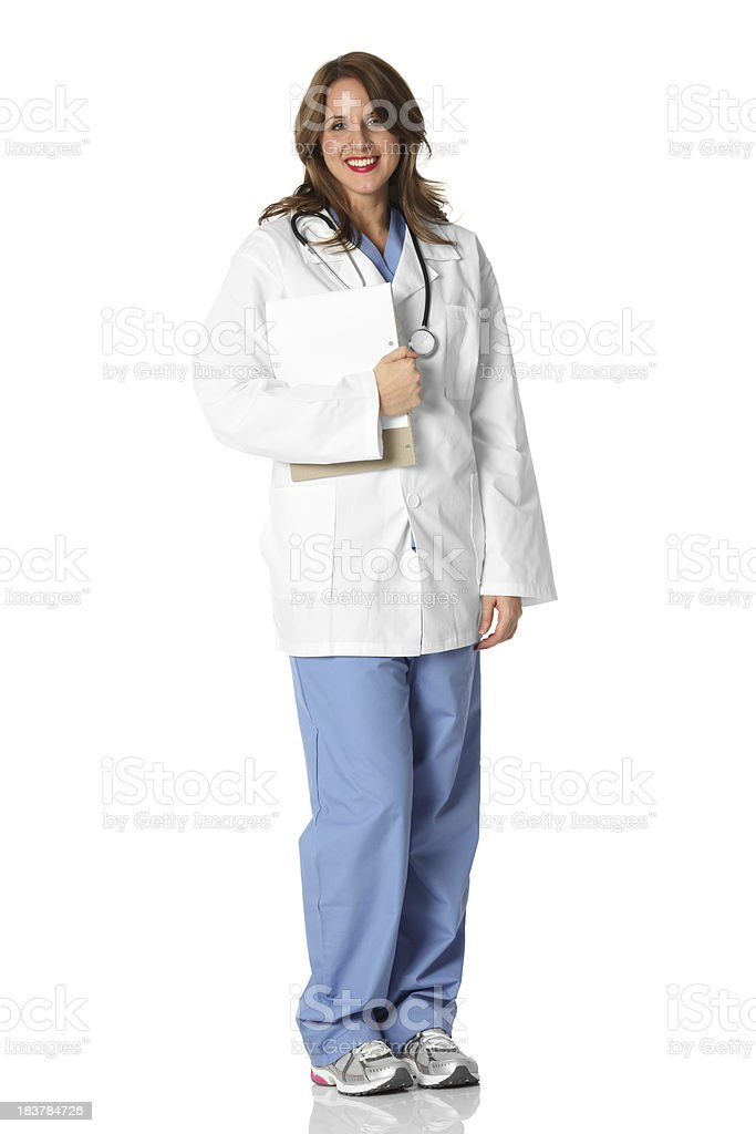 Female nurse holding a file and smiling royalty-free stock photo