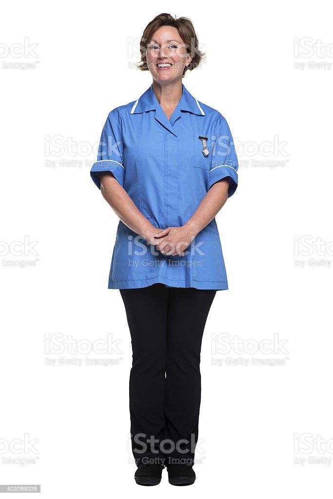 Female nurse isolated on white stock photo