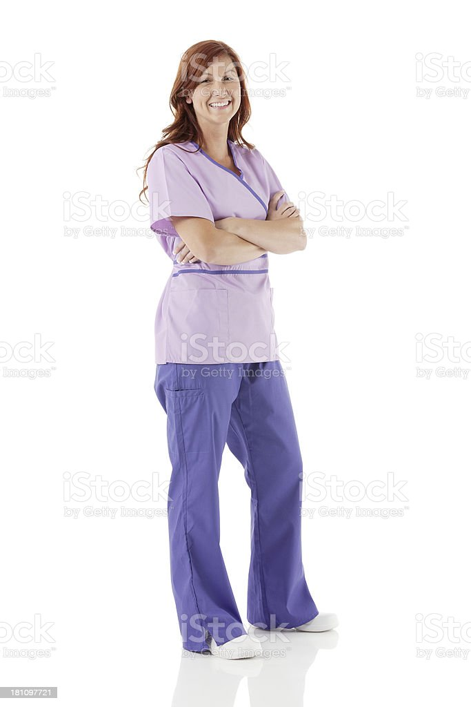 Female nurse standing with arms crossed royalty-free stock photo