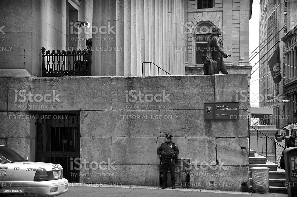 NYPD Female Officer, Federal Hall, Wall Street, Lower Manhattan, NYC royalty-free stock photo