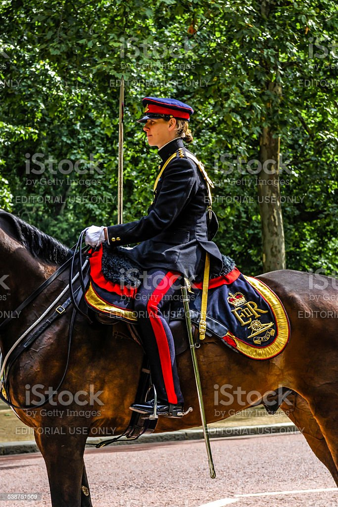 Female Officer in the British Army in London stock photo